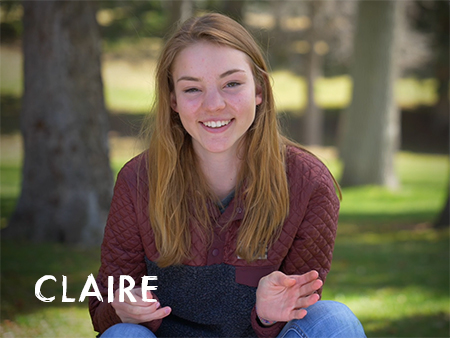 Claire, a teenage girl, is wearing a sweatshirt and jeans, sitting amongst trees and smiling. Image links to Claire's video.